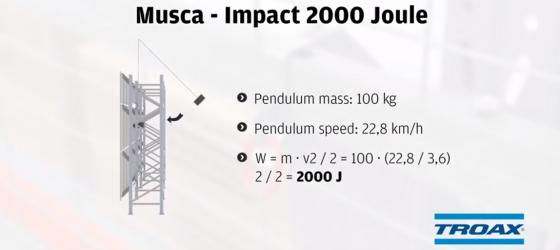 Troax Impact Test 2000 Joules Anti-collapse system Musca video